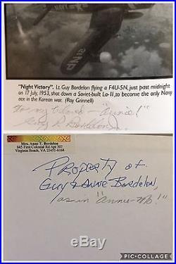 Korean War Flying Ace Lt. Guy Bordelon Estate 30+ Pilot Signatures