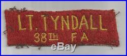Korean War LT. TYNDALL 38th Field Artillery Name Tape Inv# A456