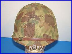 Korean War M1 M-1 USMC Marine Corps Helmet with Camo Cover