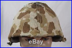 Korean War Made Us Marine Corps 53 Dated Helmet Cover Rearseam Used For Vietnam