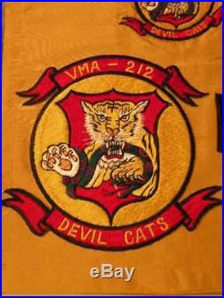 Korean War Marine Corps Squadron Patches and scarf, VMA 212, Devil Cats