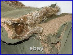 Korean War Original XLARGE USMC Marine Corps Alpaca Lined M1947 Parka Coat