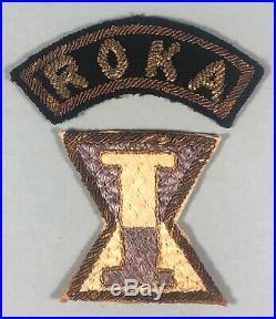 Korean War, Patch, ROK Army, 1st Corps with ROKA Arc, Both in Bullion, Beautiful