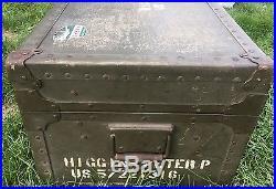 Korean War U. S Military Foot Locker Trunk (Poirier & Mclane) Pat. Date 1947