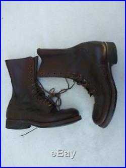 Korean War USAAF Leather Combat Boots Size 7 1/2 D Nice Patina