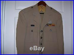Korean War USAF Pilots Silver Tan Uniform with Bullion Insignia & Visor Cap
