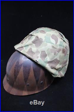 Korean War USMC Rear Seam Swivel Bale M1 Combat Helmet & Cover