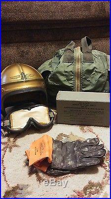 Korean War USMC USN Gentex H-4 Filght Helmet Small Navy Marine Aviator Goggles +