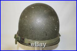 Korean War Us Army Officer M1 Combat Helmet With Liner Dated 1950's