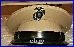 Korean War Us Marine Corps Khaki Service Cap With Ega Size 7 Dated 1951 & Named
