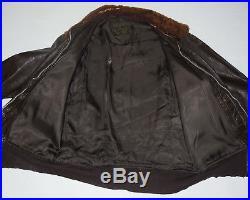 Korean War Usn Goatskin Leather G-1 Military Flight Jacket! Mouton Fur Collar 42