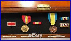 Korean War Veteran Display Shadow Box 4 Medals & 6 Ribbons