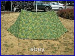 Korean War / Vietnam War USMC Mitchel Pattern Complete Pup Tent With Poles & Pins