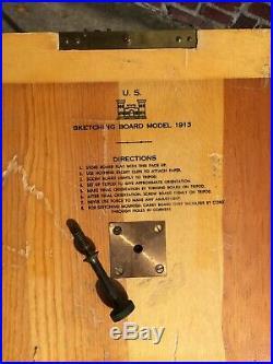 Korean War era field engineer set with bag'52 clinometer tripod sketch board 1913