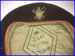 Korean war Belgian Volonteer Corps headgear beret 1952 with original insignia