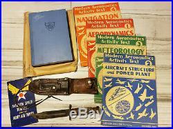 LOT US WW2 Korean War Era Camillus 6 Blade Pilot Survival Knife training books