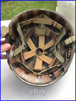 Late WW2/Korean War US M1 Paratrooper Helmet Westinghouse Liner Named A466