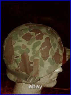 Late WWII WW2 USMC swivel Bale front seam helmet with Korean War liner Marines