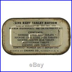 Life Raft Tablet Ration Tin w Key Korean War 1950