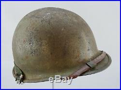M1 Steel Pot Helmet & Westinghouse Fiber Liner WW2 Korean War Era Swivel Bale