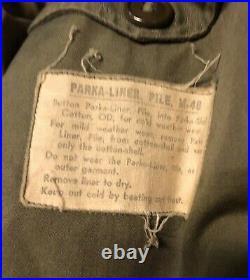M48 Fishtail Parka Liner Korean War WithPeriod Parka Shell Sz L NICE! RARE Combo