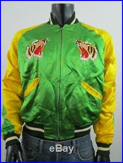 Mens Unisex Vintage Korean War Souvenir Track Boxer Satin Jacket Tiger Map Korea