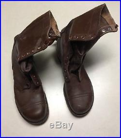 NOS Korean War WW2 M1948 1951 Brown Leather Combat Jump Boots 8 1/2 D MINT