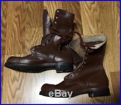 NOS Korean War WW2 M1948 1952 Brown Leather Combat Jump Boots 8 1/2 D MINT