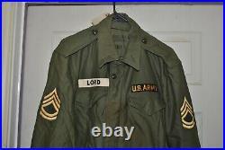 Named 1955 Korean War Shade 107 Field Coat Jacket Wind Resistant M51 #22