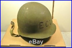 Named Identified WWII Fixed Bale M1 helmet Korean War WW2 with net (#6213)
