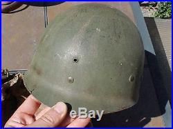 ORIGINAL SALTY WWII / KOREAN WAR ERA USMC M1 HELMET With CAMO COVER
