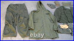 Old Korean War era M-1951 Parka & Arctic Pants & Mittens & More / Used Condition