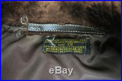 Original 50's Korean War Navy G-1 Brown Goatskin Leather Flight Jacket Size 38