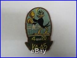 Original KOREAN WAR US Navy 4 and 20 BLACKBIRDS VA-45 SQUADRON PATCH skyraiders
