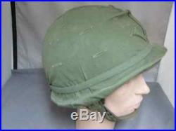 Original Korean War Era M1C Airborne Paratrooper helmet with green issue cover