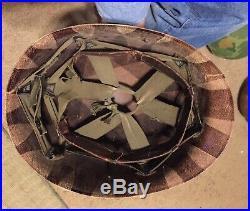 Original Korean War M1 Helmet Liner Set Westinghouse Burlap Cover Pork Chop Hil