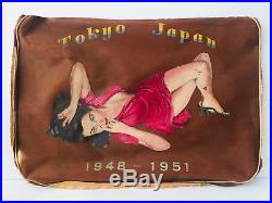 Original Korean War Soldier Hand painted Pin Up Sultry Girl on Soldiers Bag