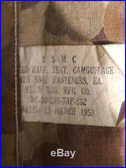 Original Korean War U. S. M. C. Camo Shelter Half Tent (1953)