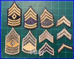 Original Korean War US Army Blue Gold Combatant Chevrons Patch Collection Lot