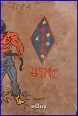 Original Korean War Veteran 1951 Sea Bag Canvas Tote Military Marine field gear