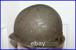Original Late WW2/Korean War Era Front Seam U. S. Army Helmet withLiner & Straps