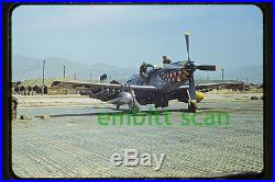 Original Slide, USAF 18th FBG NAA F-51D Mustang, 1950 Korean War