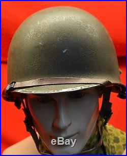 Original US Airborne M1 Helmet Korean War Era Complete with Airborne Liner