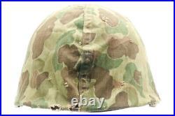 Original US Korean War / WWII USMC M1 Helmet with Frog Skin Cover