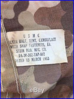 Original USMC Korean War CAMOUFLAGE SHELTER HALF TENT w PINS POLES, DATED 1953