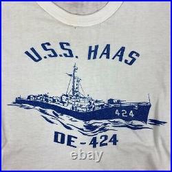 Original Vintage Post WW2 Korean War Era USN Destroyer USS Haas T-Shirt, Named