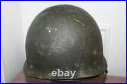 Original WW2/Korean War U. S. Army 5th I. D. Officer Painted M1 Helmet & Liner Set