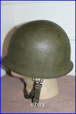 Original WW2/Korean War U. S. Army Airborne Front Seam Schlueter Helmet withStraps