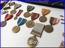 Original WWII + Korean War MEDALS Ribbons Pins Papers Grouping Army + Navy 1 Guy