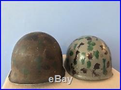 Original WWII Korean War US General Front Seam Camo Helmet & Westinghouse Liner